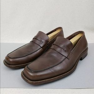 Johnston & Murphy Leather Square Toe Penny Loafers